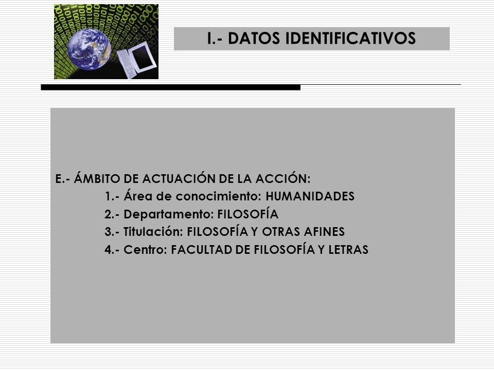 I.- DATOS IDENTIFICATIVOS F.- ASIGNATURAS AFECTADAS: 1.- Nombres de las asignaturas: Las impartidas por los Departamentos de Filosofía I y Filosofía II, tanto en las de la titulación como en las afines afectas de otras titulaciones, como constan en la página Web 2.- Áreas de Conocimiento: Humanidades 3.- Titulación/es: Filosofía y afines, filologías y todas las afectas por la Facultad de Ciencias de la Educación
