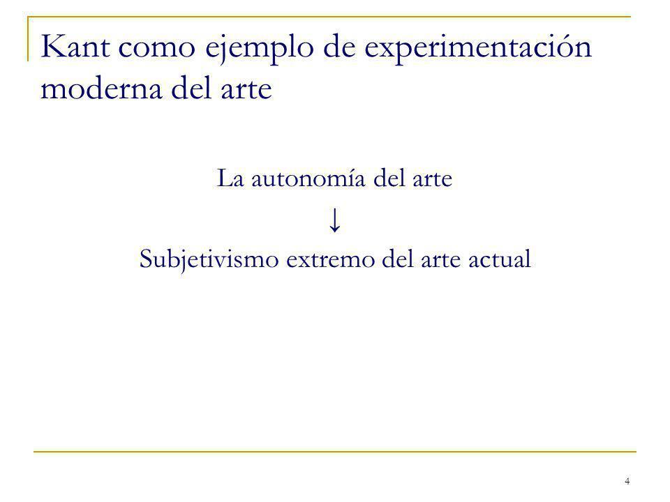 4 Kant como ejemplo de experimentación moderna del arte La autonomía del arte Subjetivismo extremo del arte actual