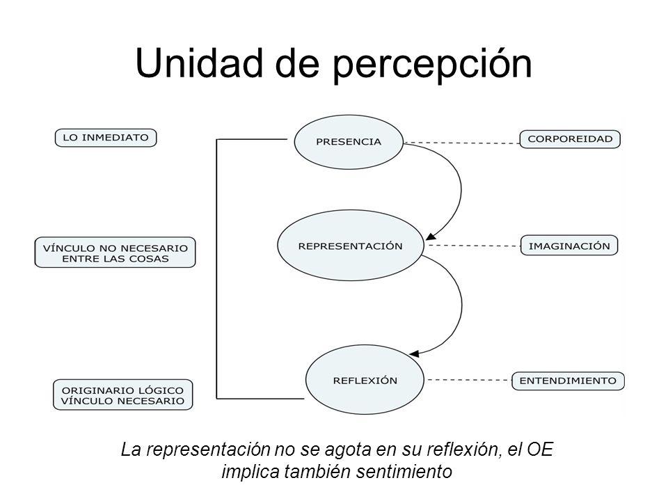 Unidad de percepción La representación no se agota en su reflexión, el OE implica también sentimiento