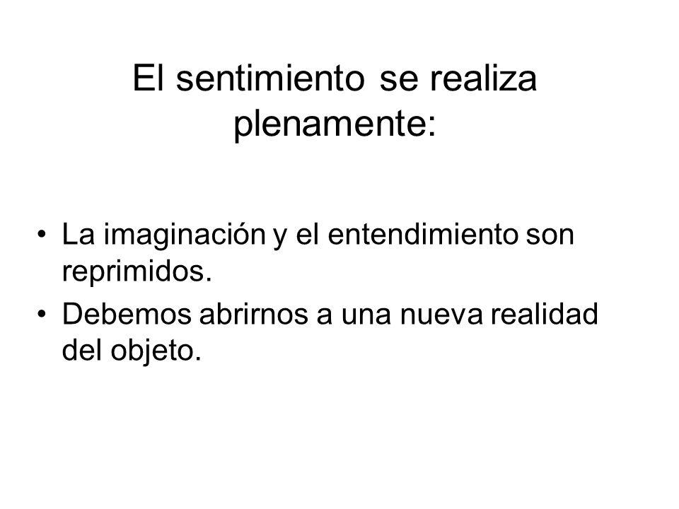 El sentimiento se realiza plenamente: La imaginación y el entendimiento son reprimidos.