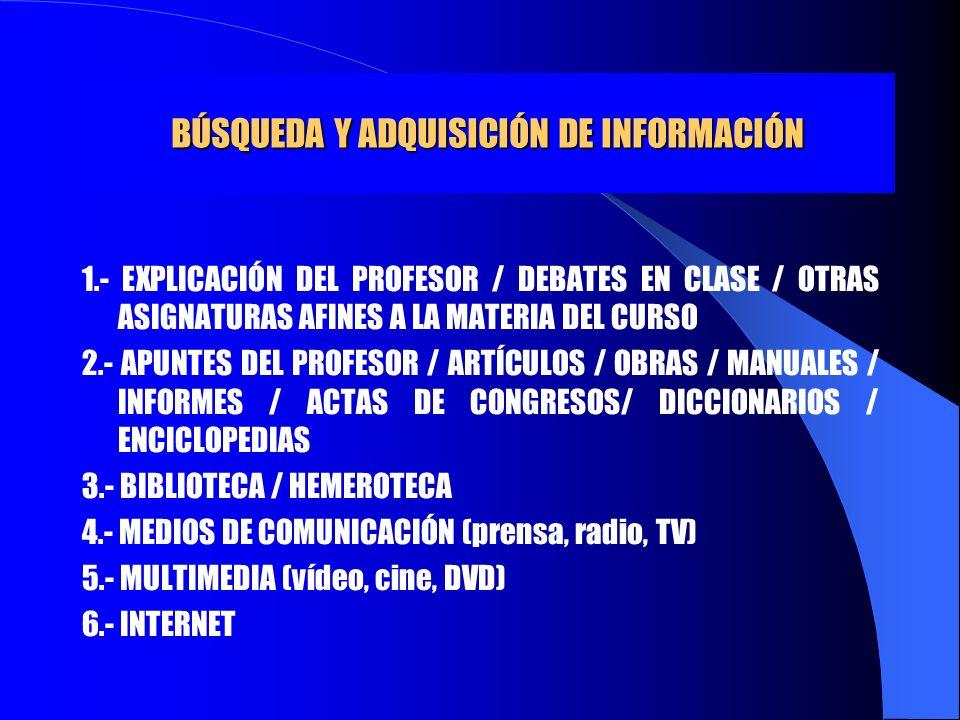 BÚSQUEDA Y ADQUISICIÓN DE INFORMACIÓN 1.- EXPLICACIÓN DEL PROFESOR / DEBATES EN CLASE / OTRAS ASIGNATURAS AFINES A LA MATERIA DEL CURSO 2.- APUNTES DE