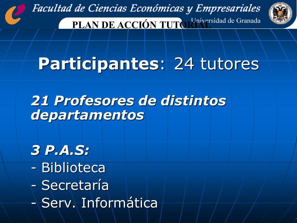 Participantes: 24 tutores 21 Profesores de distintos departamentos 3 P.A.S: - Biblioteca - Secretaría - Serv.