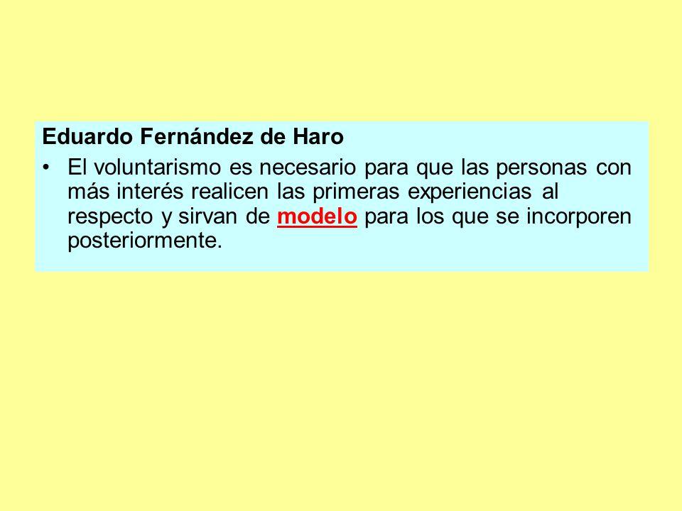 Eduardo Fernández de Haro El voluntarismo es necesario para que las personas con más interés realicen las primeras experiencias al respecto y sirvan de modelo para los que se incorporen posteriormente.