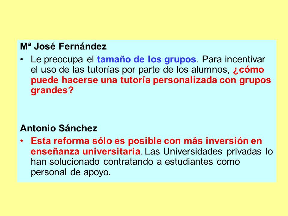 Mª José Fernández Le preocupa el tamaño de los grupos.