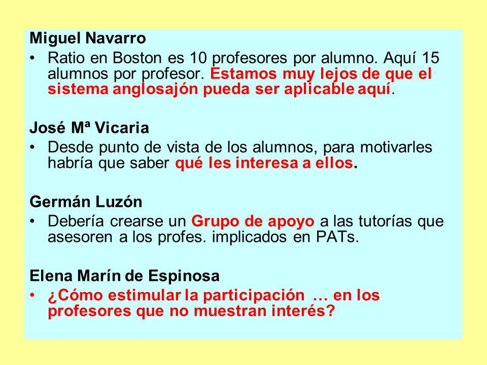 Miguel Navarro Ratio en Boston es 10 profesores por alumno.