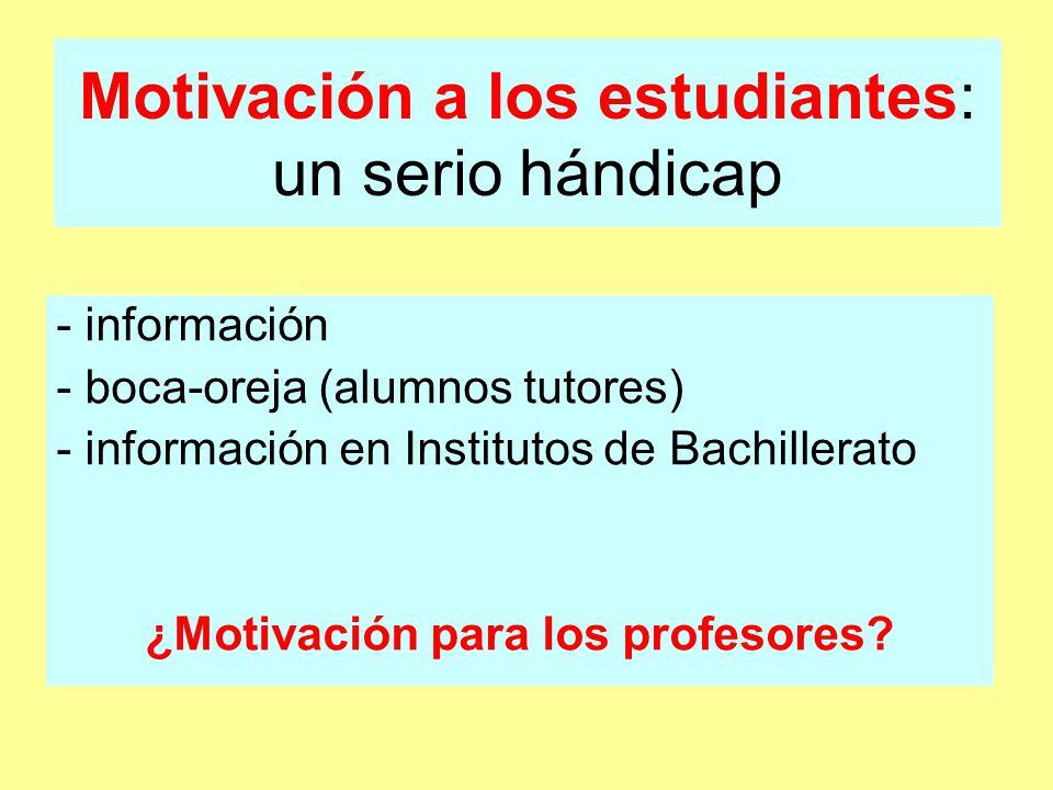 Motivación a los estudiantes: un serio hándicap - información - boca-oreja (alumnos tutores) - información en Institutos de Bachillerato ¿Motivación para los profesores