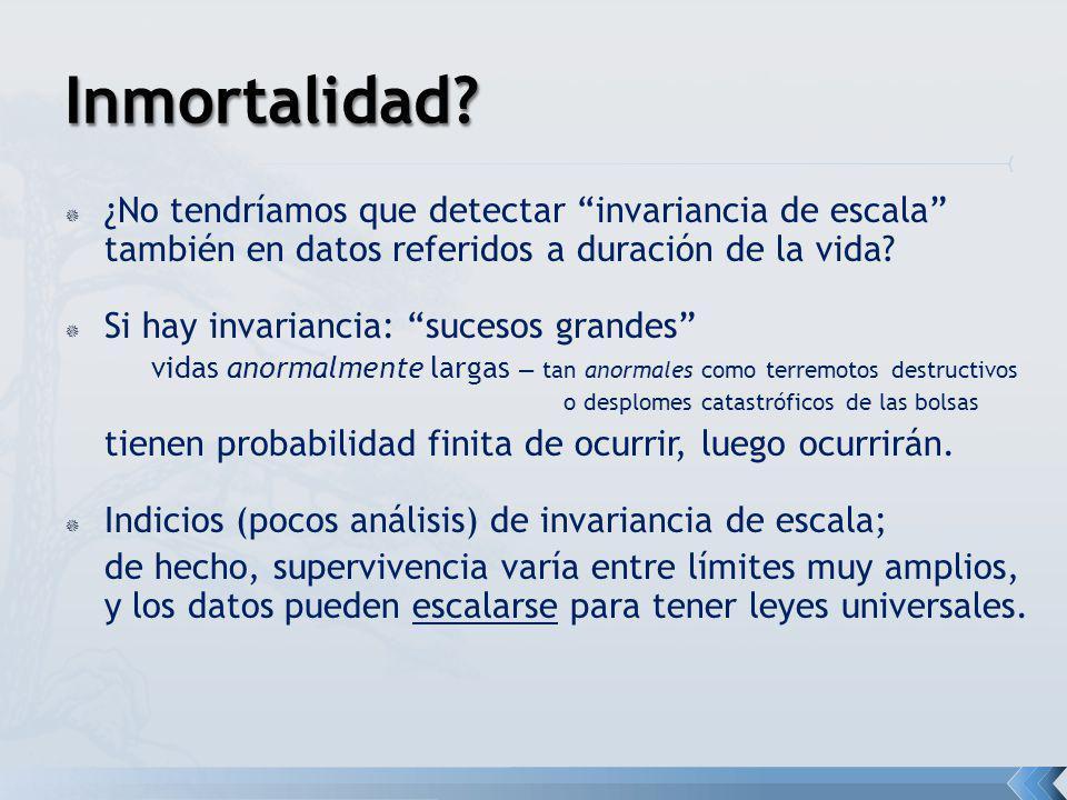 ¿No tendríamos que detectar invariancia de escala también en datos referidos a duración de la vida? Si hay invariancia: sucesos grandes vidas anormalm