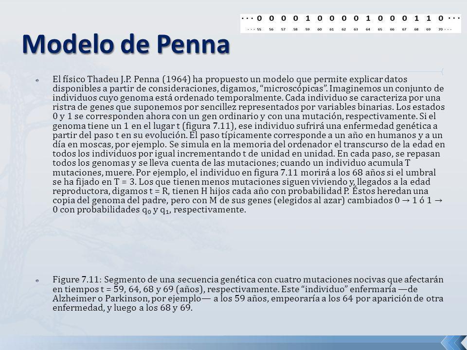 El físico Thadeu J.P. Penna (1964) ha propuesto un modelo que permite explicar datos disponibles a partir de consideraciones, digamos, microscópicas.