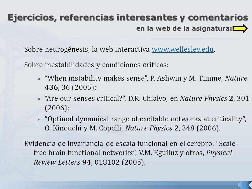 Sobre neurogénesis, la web interactiva www.wellesley.edu.www.wellesley.edu Sobre inestabilidades y condiciones críticas: When instability makes sense,