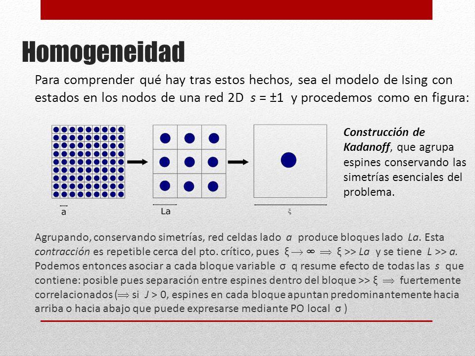 Homogeneidad Para comprender qué hay tras estos hechos, sea el modelo de Ising con estados en los nodos de una red 2D s = ±1 y procedemos como en figura: Agrupando, conservando simetrías, red celdas lado a produce bloques lado La.