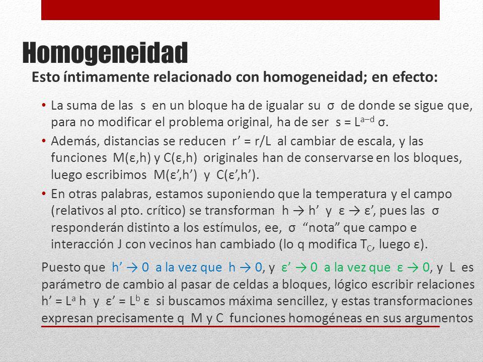 Homogeneidad Esto íntimamente relacionado con homogeneidad; en efecto: La suma de las s en un bloque ha de igualar su σ de donde se sigue que, para no modificar el problema original, ha de ser s = L a–d σ.