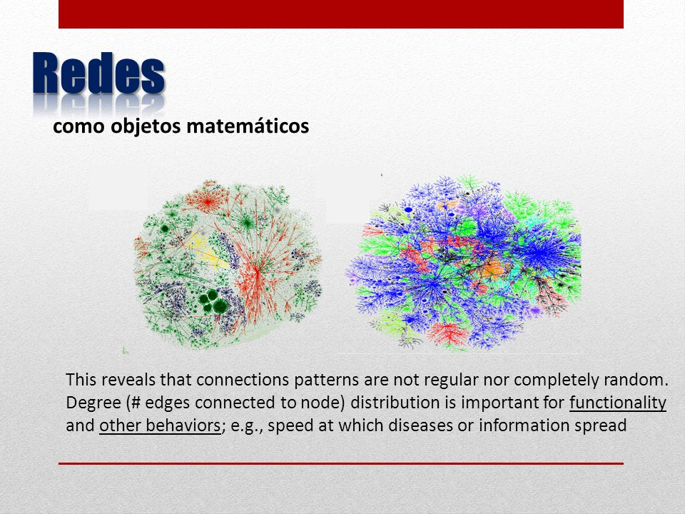 This reveals that connections patterns are not regular nor completely random. Degree (# edges connected to node) distribution is important for functio