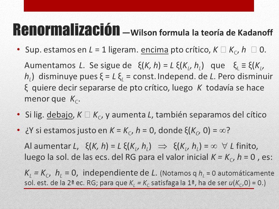 Renormalización Wilson formula la teoría de Kadanoff Sup.
