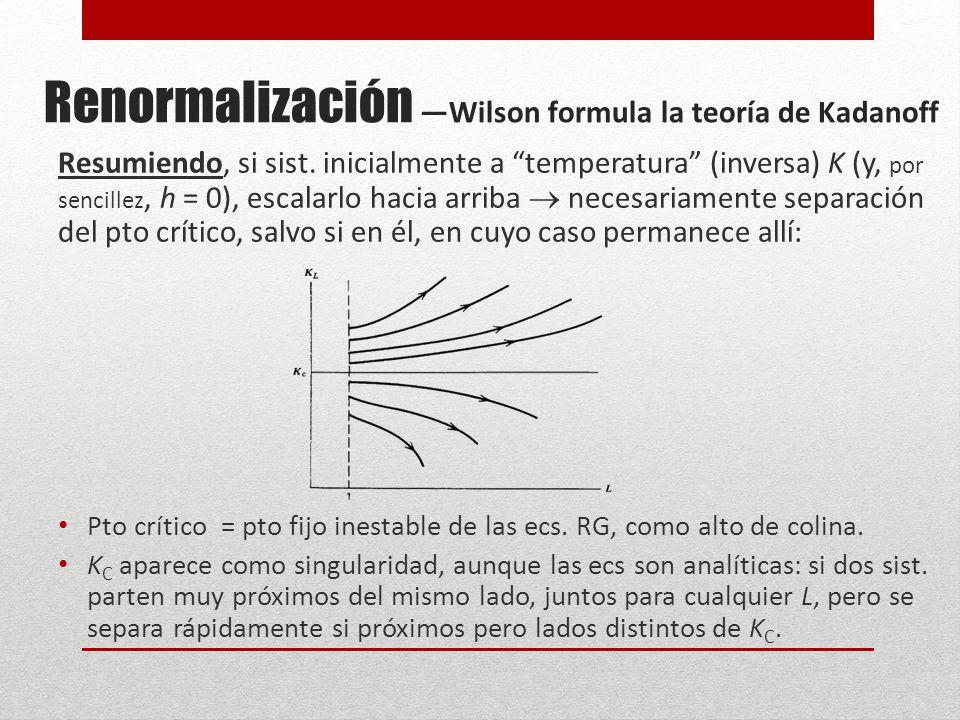 Renormalización Wilson formula la teoría de Kadanoff Resumiendo, si sist.