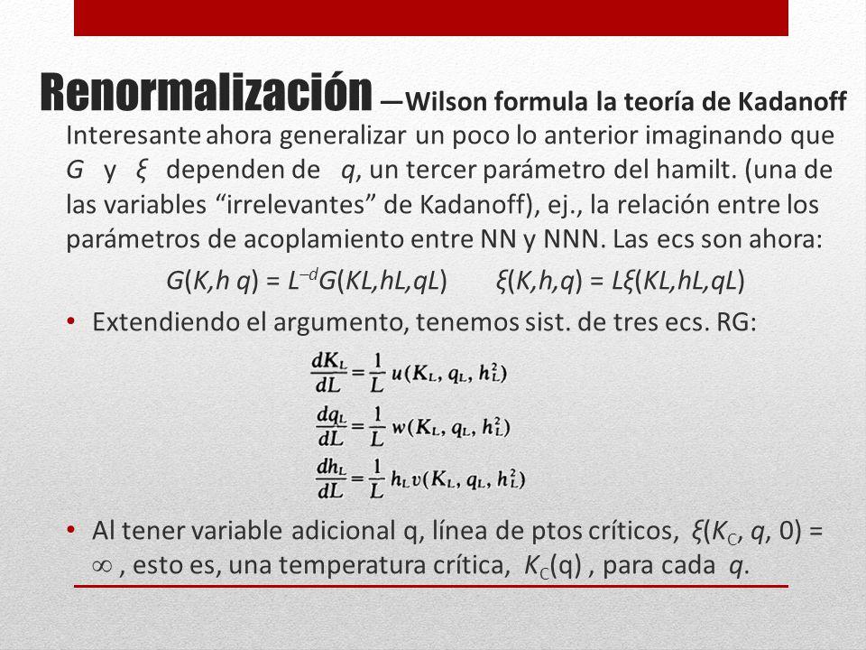 Renormalización Wilson formula la teoría de Kadanoff Interesante ahora generalizar un poco lo anterior imaginando que G y ξ dependen de q, un tercer parámetro del hamilt.