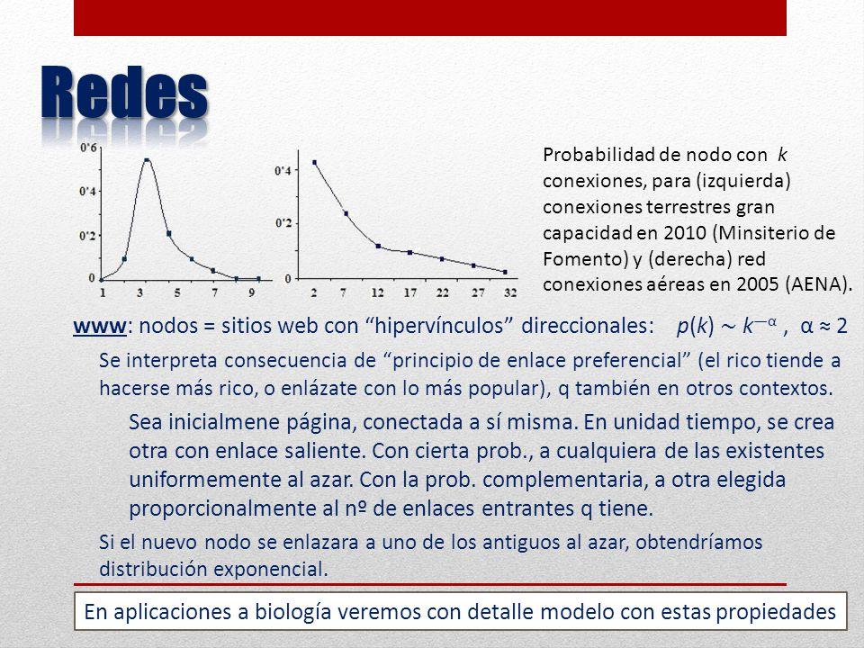 www: nodos = sitios web con hipervínculos direccionales: p(k) k α, α 2 Se interpreta consecuencia de principio de enlace preferencial (el rico tiende a hacerse más rico, o enlázate con lo más popular), q también en otros contextos.