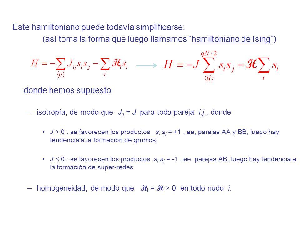 Una medida del orden (si las dos especies son intercambiables, AB) es el exceso de una sobre la otra (promediado sobre configuraciones): En efecto, según la curva de coexistencia que vimos, el modelo tiene transición a un estado ordenado si: 0 ( ρ A –ρ B 0) para H 0, T < T C Para ver si el modelo presenta esta propiedad, hemos de calcular la FP canónica, puesto que se tiene (ya lo vimos explícitamente; comprobad): donde