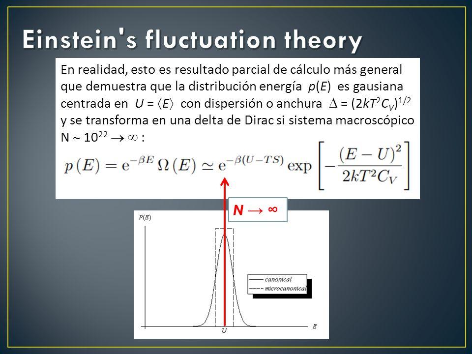 N En realidad, esto es resultado parcial de cálculo más general que demuestra que la distribución energía p(E) es gausiana centrada en U = E con dispersión o anchura = (2kT 2 C V ) 1/2 y se transforma en una delta de Dirac si sistema macroscópico N 10 22 :