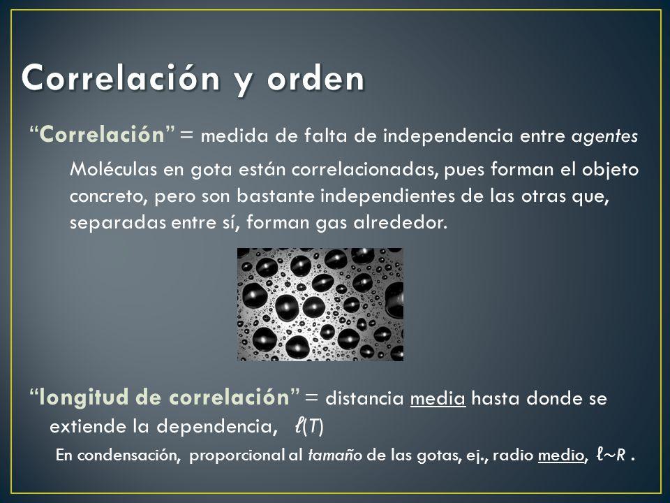 Correlación = medida de falta de independencia entre agentes Moléculas en gota están correlacionadas, pues forman el objeto concreto, pero son bastant
