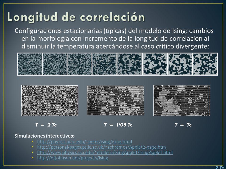 Configuraciones estacionarias (típicas) del modelo de Ising: cambios en la morfología con incremento de la longitud de correlación al disminuir la tem