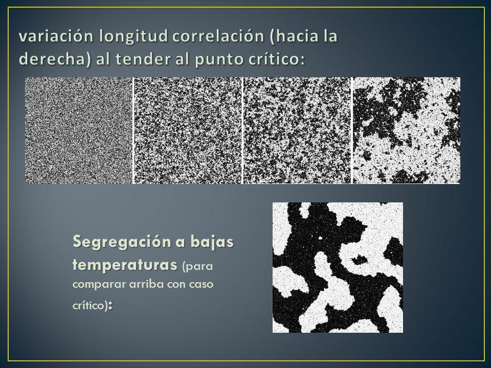 Segregación a bajas temperaturas : Segregación a bajas temperaturas (para comparar arriba con caso crítico) :