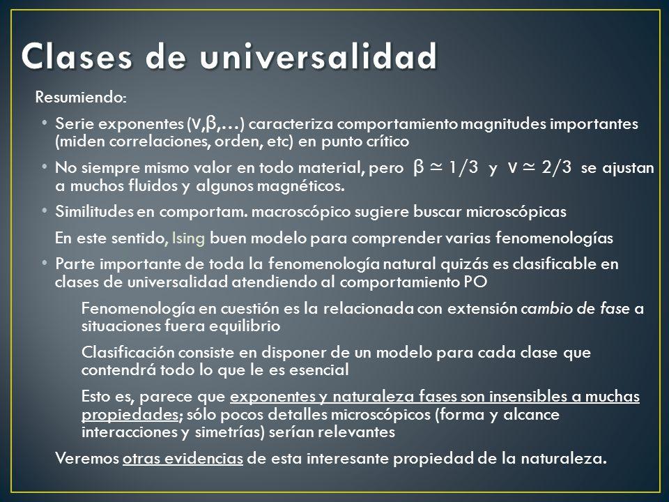 Resumiendo: Serie exponentes ( ν, β,…) caracteriza comportamiento magnitudes importantes (miden correlaciones, orden, etc) en punto crítico No siempre mismo valor en todo material, pero β 1/3 y ν 2/3 se ajustan a muchos fluidos y algunos magnéticos.