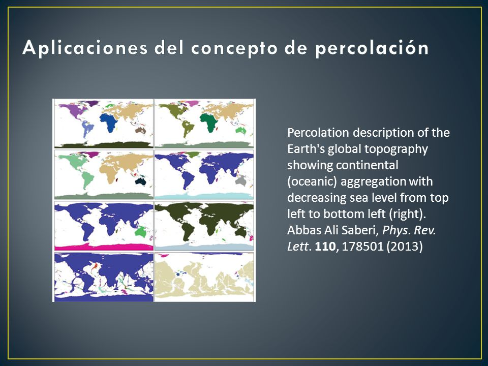 Percolation description of the Earth's global topography showing continental (oceanic) aggregation with decreasing sea level from top left to bottom l