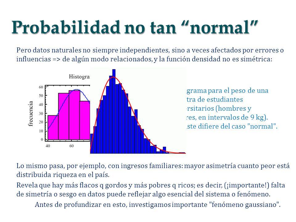 Pero datos naturales no siempre independientes, sino a veces afectados por errores o influencias => de algún modo relacionados, y la función densidad