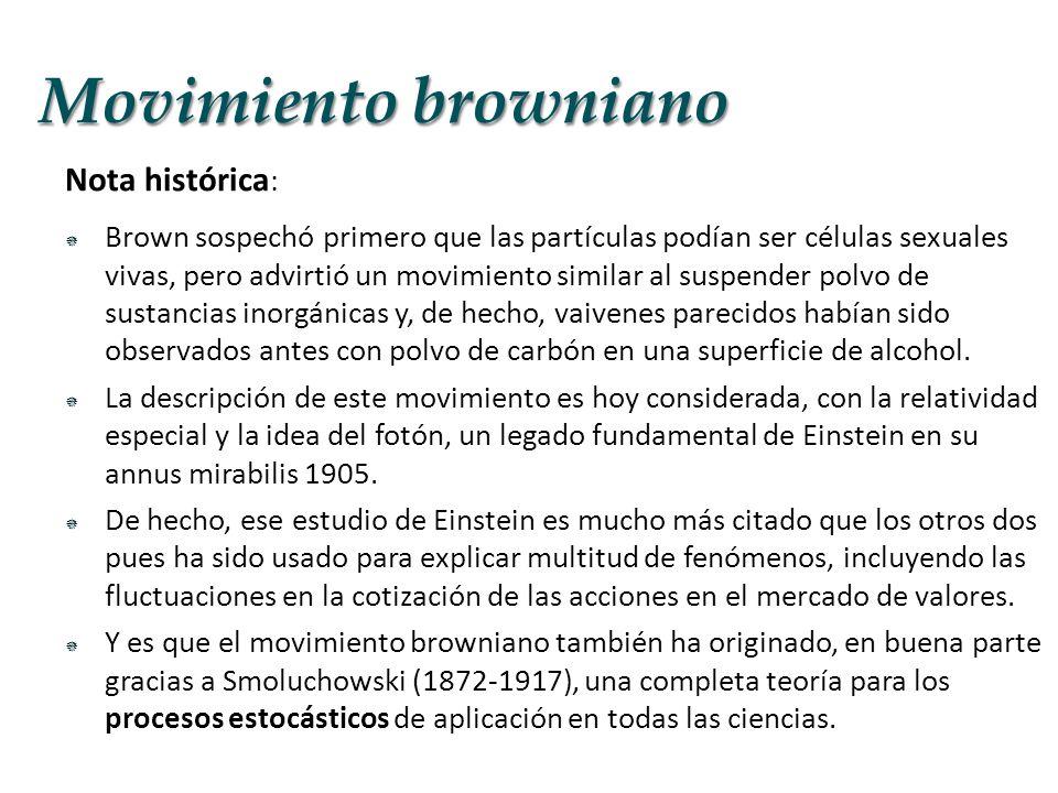 Nota histórica : Brown sospechó primero que las partículas podían ser células sexuales vivas, pero advirtió un movimiento similar al suspender polvo d
