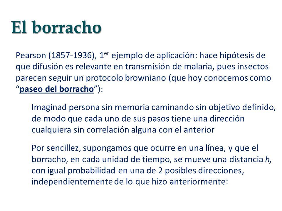 Pearson (1857-1936), 1 er ejemplo de aplicación: hace hipótesis de que difusión es relevante en transmisión de malaria, pues insectos parecen seguir u