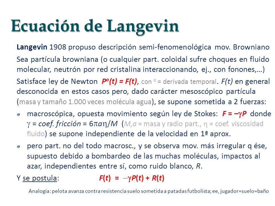Langevin 1908 propuso descripción semi-fenomenológica mov. Browniano Sea partícula browniana (o cualquier part. coloidal sufre choques en fluido molec