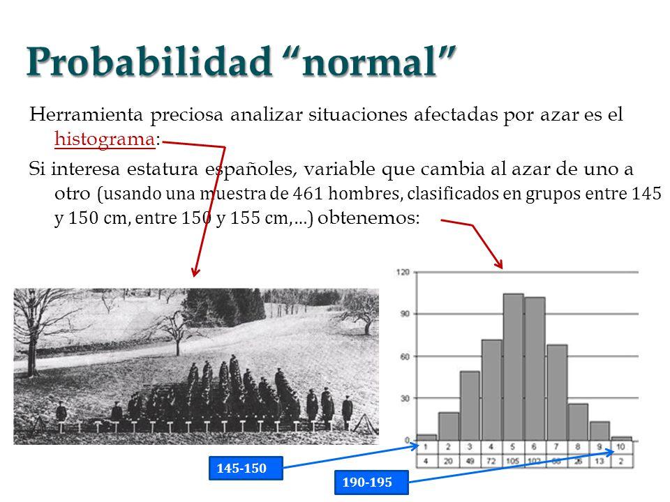 media = frecuencia×altura / frecuencias En esta muestra, μ = E[X] = 16893, donde X = variable aleatoria, E[] = operación promedio Decimos q estatura media esta población españoles = 16893 cm varianza = σ² = E[(Xμ)²] = 7268 desviación estándar es σ = 853 función densidad = probabilidad p(x) de que la variable X tome un valor x densidad normal (campana) de Gauss = p(x) exp{(xμ)²/2σ²} Histograma y función de Gauss asociada, representación continua de los datos para la media y varianza de éstos media, promedio o valor medio varianza, dispersión individuos alrededor de media, variancia = promedio del cuadrado (para que sea un número positivo) de la distancia entre la media y los distintos valores de la variable.