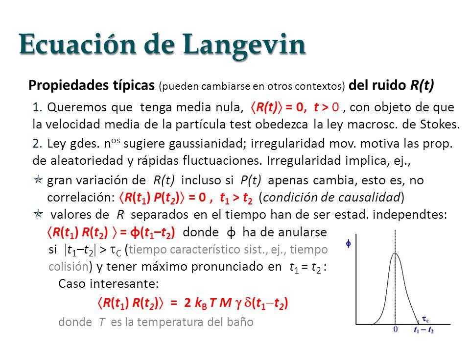 Propiedades típicas (pueden cambiarse en otros contextos) del ruido R(t) 1. Queremos que tenga media nula, R(t) = 0, t > 0, con objeto de que la veloc