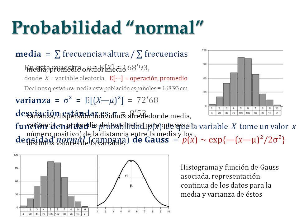 media = frecuencia×altura / frecuencias En esta muestra, μ = E[X] = 16893, donde X = variable aleatoria, E[] = operación promedio Decimos q estatura m