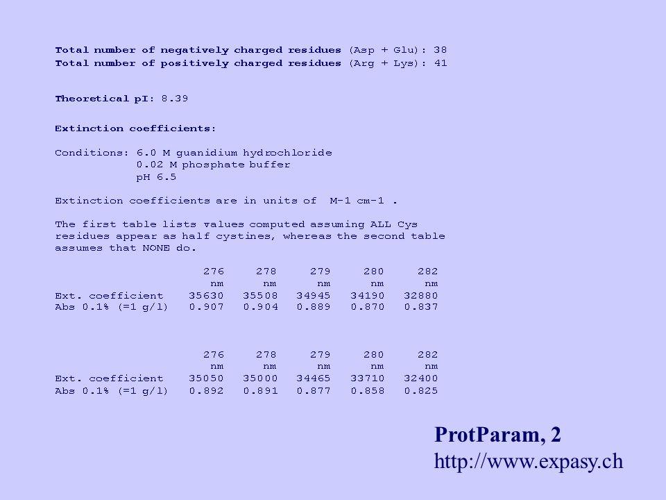 ProtParam, 2 http://www.expasy.ch