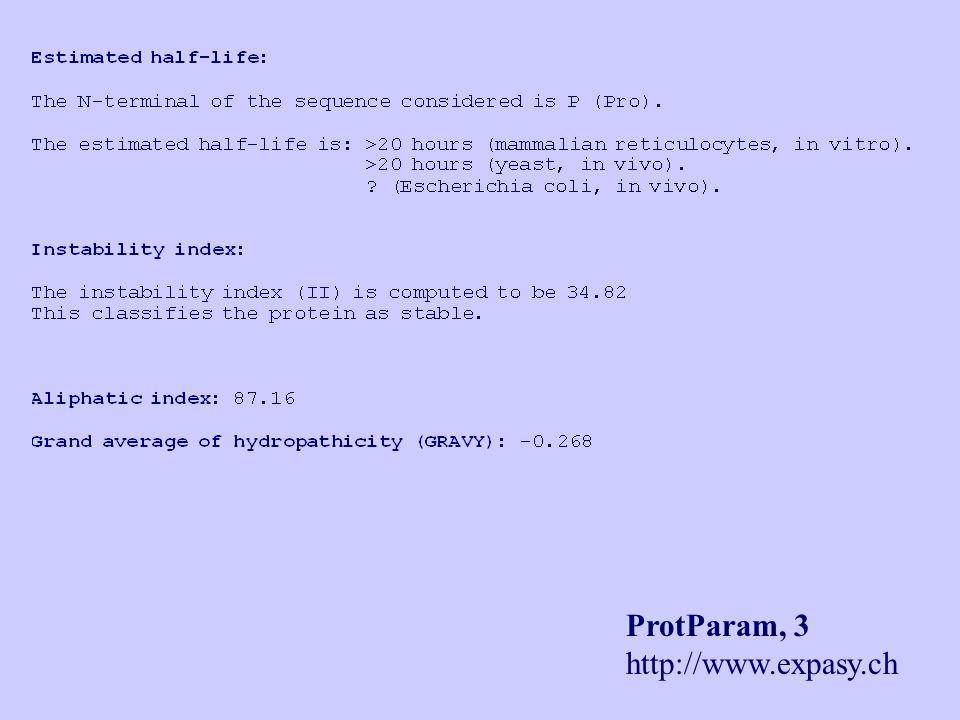 ProtParam, 3 http://www.expasy.ch