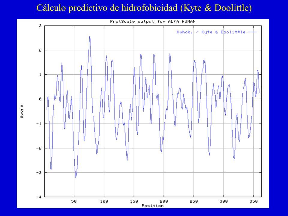 Cálculo predictivo de hidrofobicidad (Kyte & Doolittle)