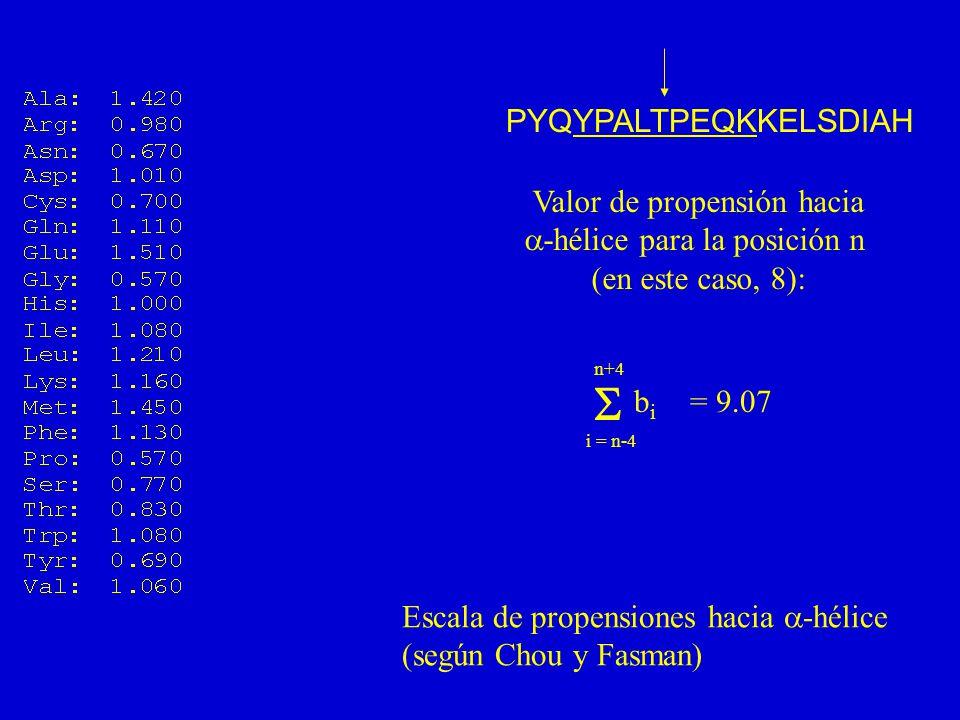 PYQYPALTPEQKKELSDIAH Valor de propensión hacia -hélice para la posición n (en este caso, 8): i = n-4 n+4 bibi = 9.07 Escala de propensiones hacia -hélice (según Chou y Fasman)