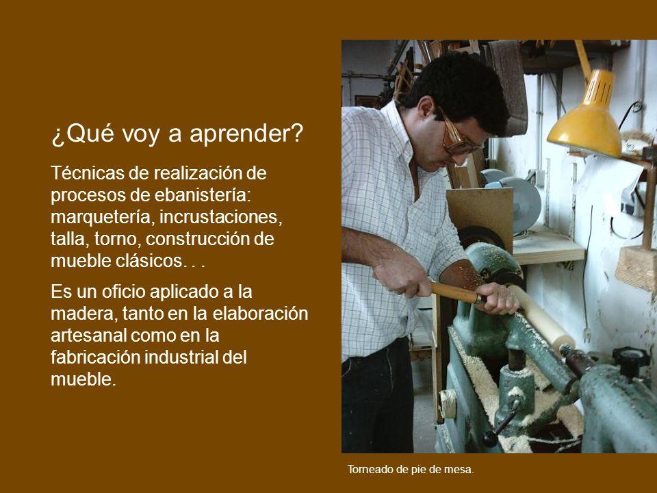 Técnicas de realización de procesos de ebanistería: marquetería, incrustaciones, talla, torno, construcción de mueble clásicos... Es un oficio aplicad