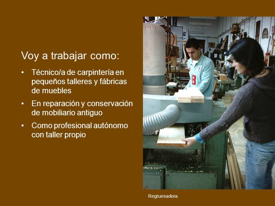 Técnico/a de carpintería en pequeños talleres y fábricas de muebles En reparación y conservación de mobiliario antiguo Como profesional autónomo con t