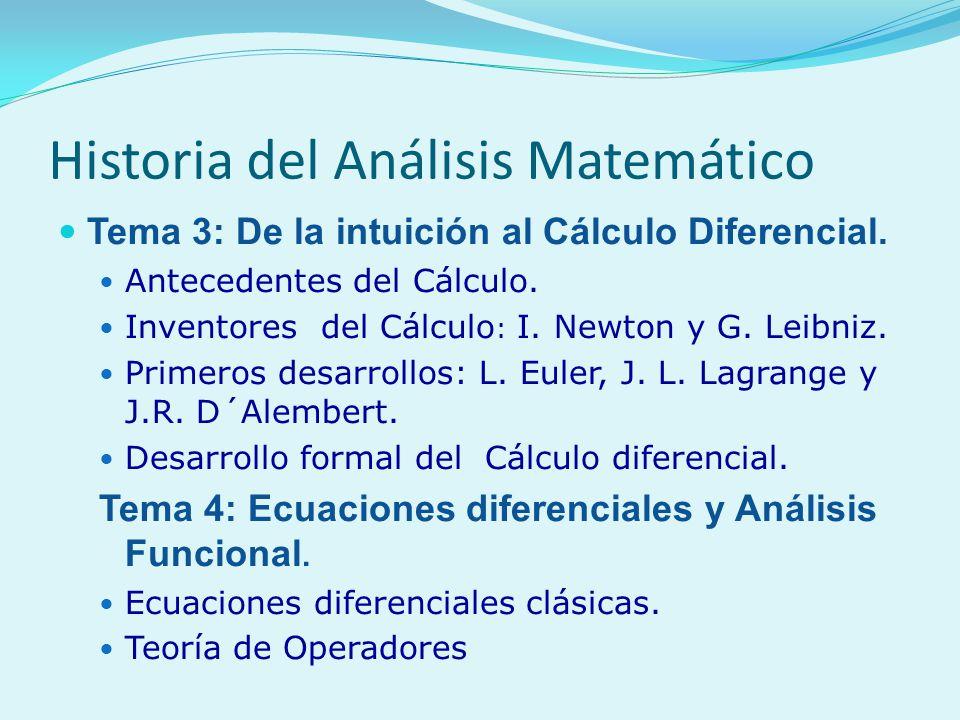 Historia del Análisis Matemático Tema 3: De la intuición al Cálculo Diferencial. Antecedentes del Cálculo. Inventores del Cálculo : I. Newton y G. Lei