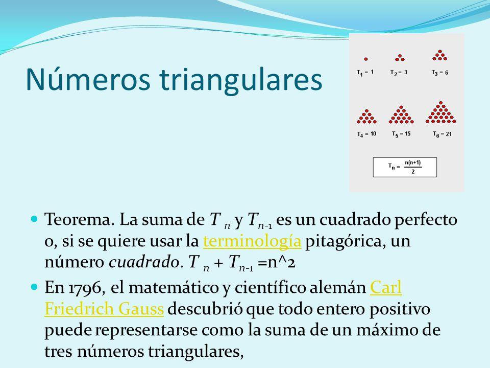 Números triangulares Teorema. La suma de T n y T n-1 es un cuadrado perfecto o, si se quiere usar la terminología pitagórica, un número cuadrado. T n