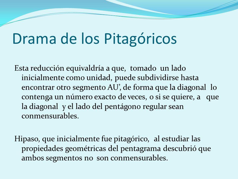 Drama de los Pitagóricos Esta reducción equivaldría a que, tomado un lado inicialmente como unidad, puede subdividirse hasta encontrar otro segmento A