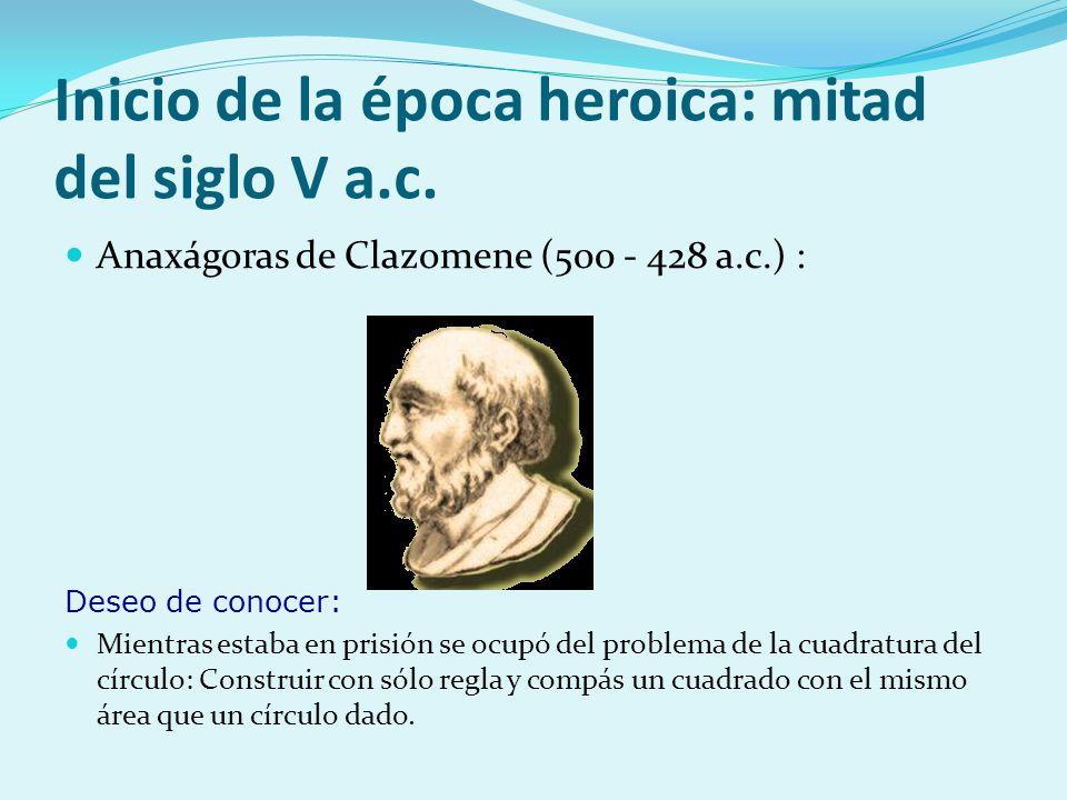 Inicio de la época heroica: mitad del siglo V a.c. Anaxágoras de Clazomene (500 - 428 a.c.) : Deseo de conocer: Mientras estaba en prisión se ocupó de