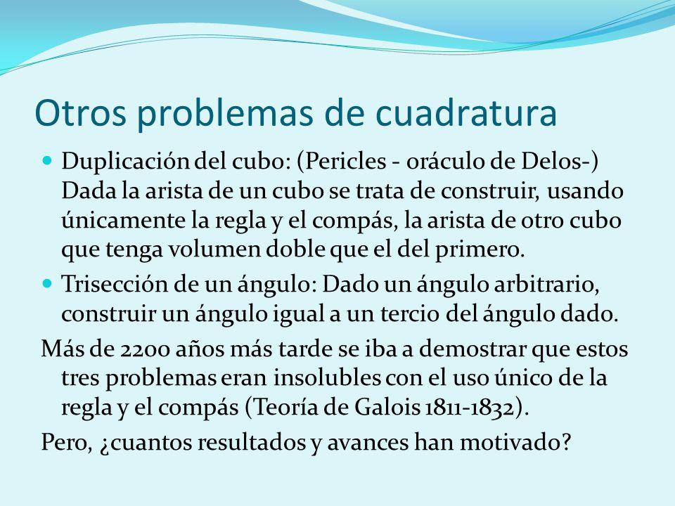 Otros problemas de cuadratura Duplicación del cubo: (Pericles - oráculo de Delos-) Dada la arista de un cubo se trata de construir, usando únicamente