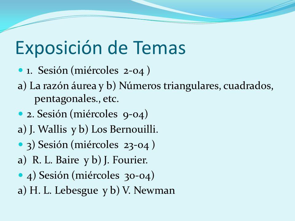 Exposición de Temas 1. Sesión (miércoles 2-o4 ) a) La razón áurea y b) Números triangulares, cuadrados, pentagonales., etc. 2. Sesión (miércoles 9-o4)