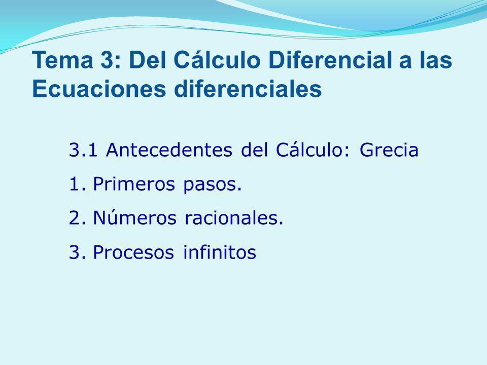 3.1 Antecedentes del Cálculo: Grecia 1.Primeros pasos. 2.Números racionales. 3.Procesos infinitos Tema 3: Del Cálculo Diferencial a las Ecuaciones dif