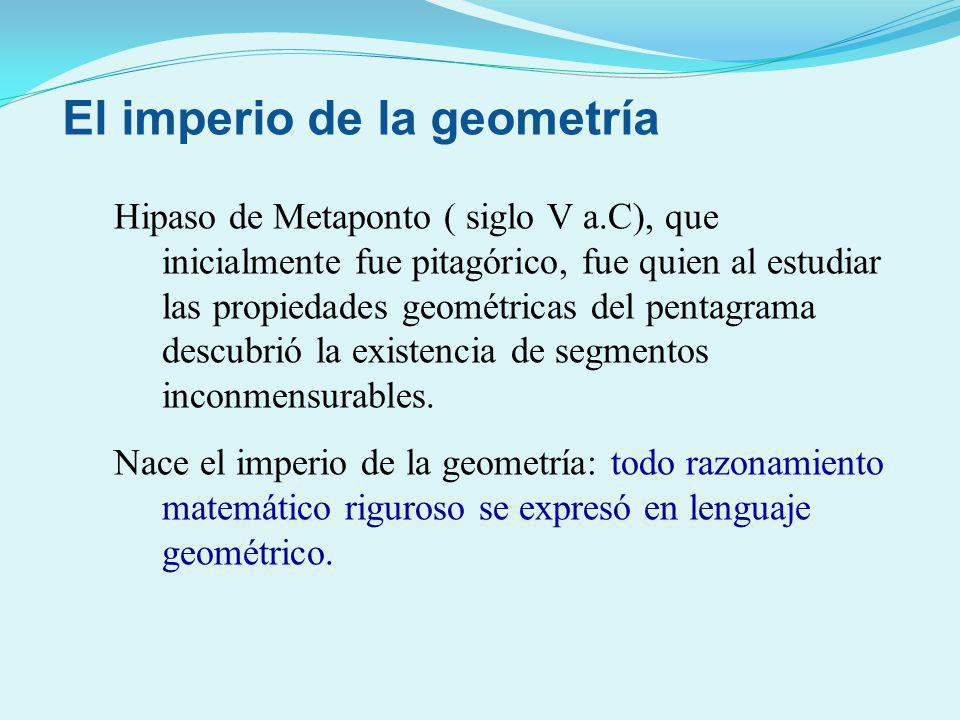 Hipaso de Metaponto ( siglo V a.C), que inicialmente fue pitagórico, fue quien al estudiar las propiedades geométricas del pentagrama descubrió la exi