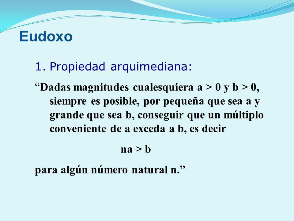 1.Propiedad arquimediana: Dadas magnitudes cualesquiera a > 0 y b > 0, siempre es posible, por pequeña que sea a y grande que sea b, conseguir que un