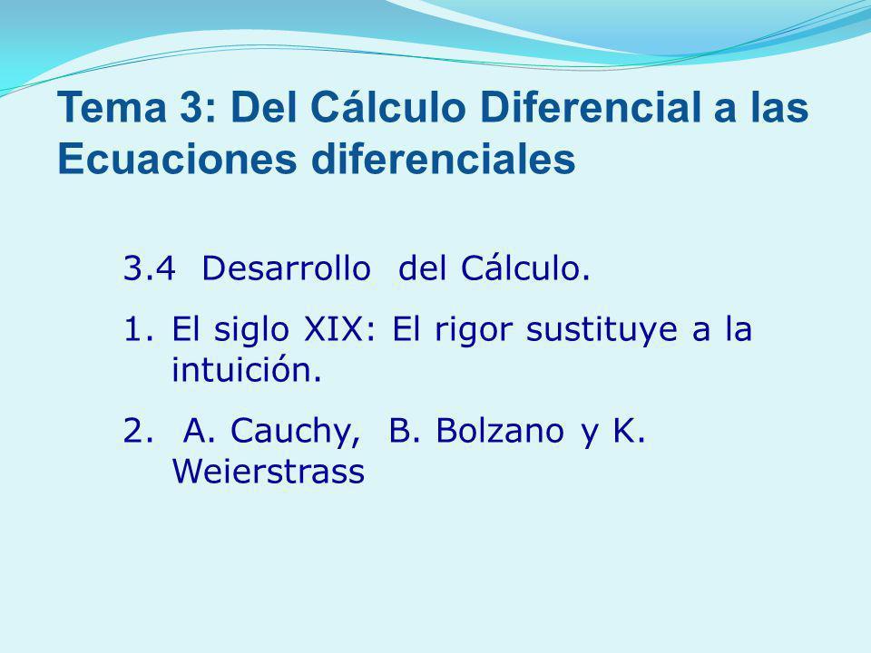 3.4 Desarrollo del Cálculo. 1.El siglo XIX: El rigor sustituye a la intuición. 2. A. Cauchy, B. Bolzano y K. Weierstrass Tema 3: Del Cálculo Diferenci